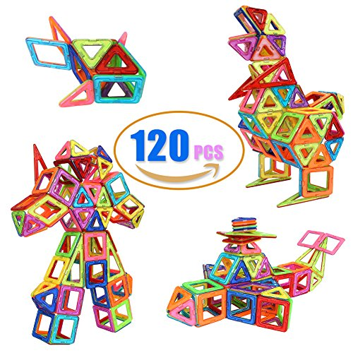 Grand Line 120 Pieces Magnetic Stacking Blocks Sets Educational Toys, 3D Building Colorful Tiles With Storage Box