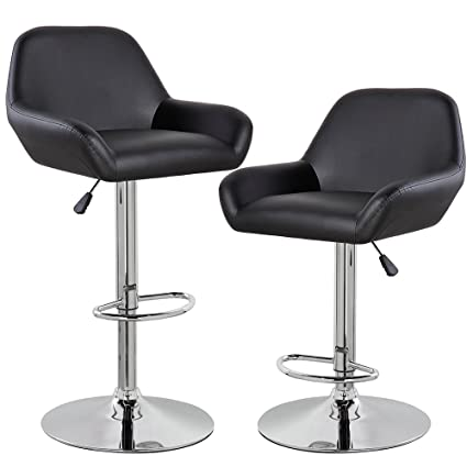 Superb Kerland Morden Adjustable Swivel Bar Stools Set Of 2 Black Pu Leather Home Kitchen Bar Chairs With Arms And Padded Back Chrome Footrest Evergreenethics Interior Chair Design Evergreenethicsorg