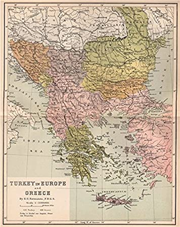 Turkey On Europe Map.Turkey In Europe And Greece 1885 Antique Map Amazon Co Uk Kitchen