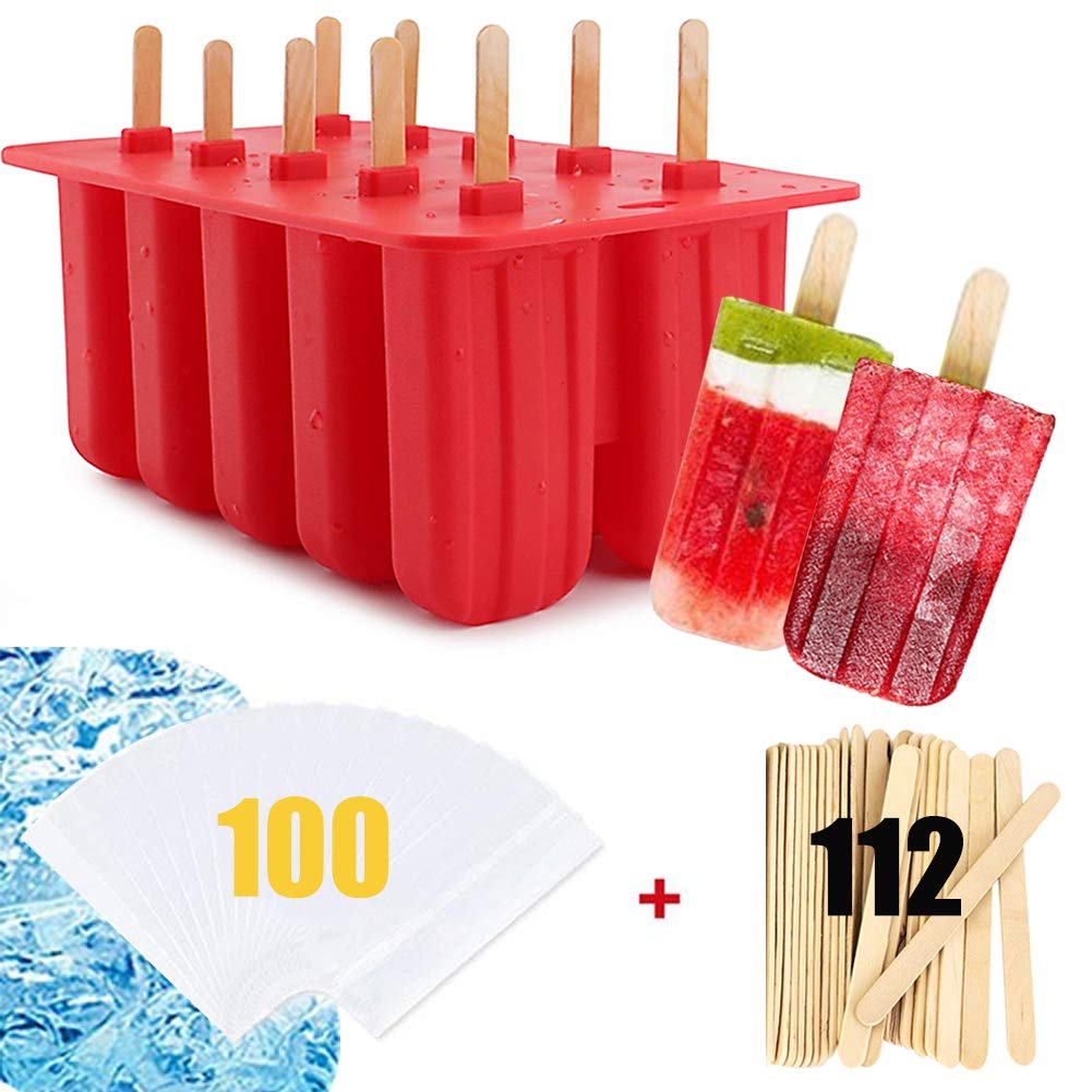 Iwuvu FDA Certified Homemade Popsicle Molds BPA Free Silicone 10 Cavity With 112!!! Pop Sticks & 100!!! Clear Ice Pop Bags, Food Grade Baby Frozen Ice Pop Maker For Kids, Popsicle Stand, 2 Recipes In