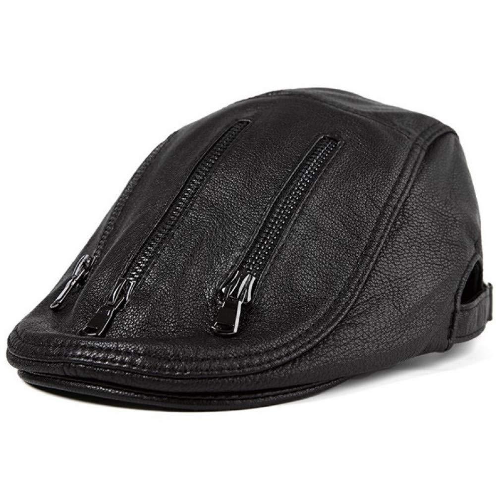 LMZXH&M Herren Leder Hut Leder Barette Persönlichkeit Flache Kappe Für Männer Einstellbare Größe Kappen