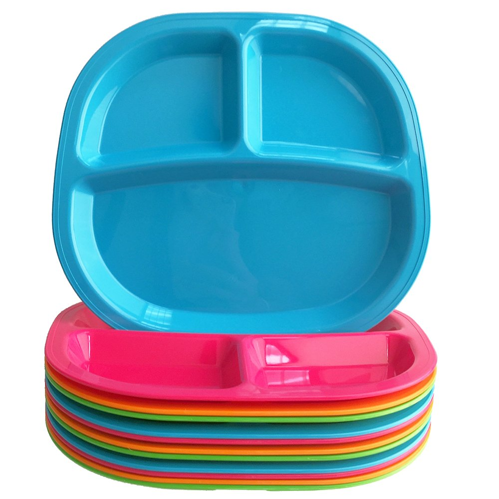 3-Compartment Divided Plastic Kids Tray | set of 12 in 4 Assorted Colors