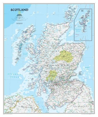 National Geographic: Scotland Classic Wall Map (30 X 36 Inches) (National Geographic Reference Map)