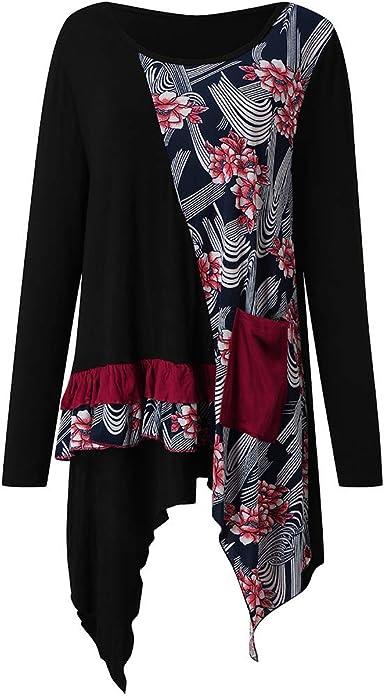 Sylar Camisetas Mujer Tallas Grandes Camisetas Desigual Mujer Camisa Mujer Manga Larga Camisa De Estampado Floral con Cuello Redondo para Mujer Blusa De Mujer Camiseta Casual T-Shirt Primavera Otoño: Amazon.es: Ropa y