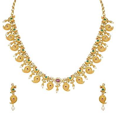 1de19c28c Buy Peora 18K Matte Gold Finish Indian Traditional Peacock Design ...