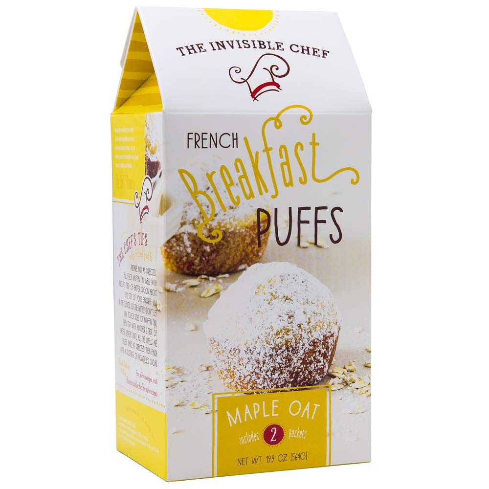 Amazon Com The Invisible Chef French Breakfast Puffs Muffin Mix 19 9 Oz Maple Oats Flavored Puffs Tasty Easy Homemade Puff Pastry Choose Your Flavor Maple Oats Grocery Gourmet Food