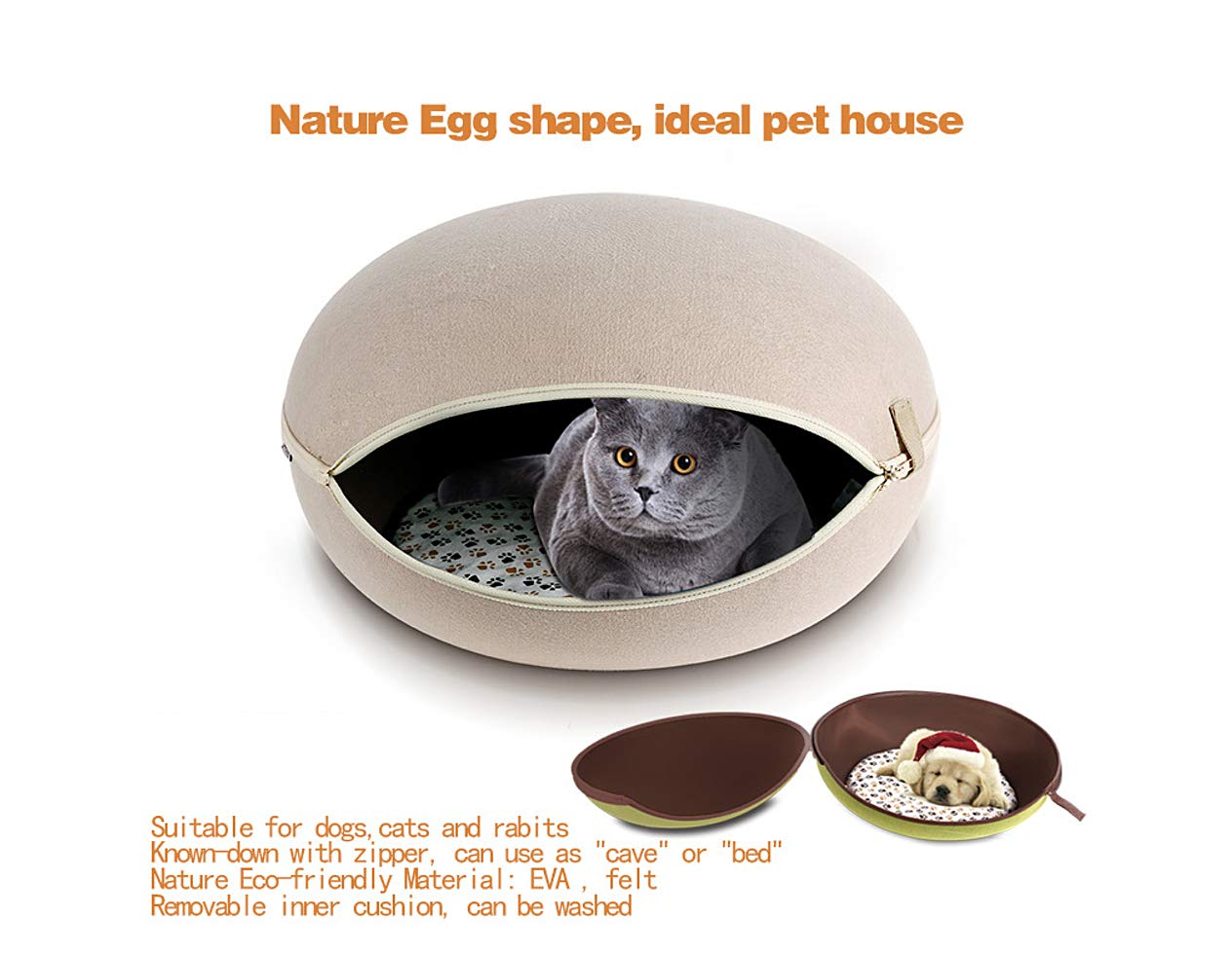 Beige Cat Cave Cat Bed (Beige)