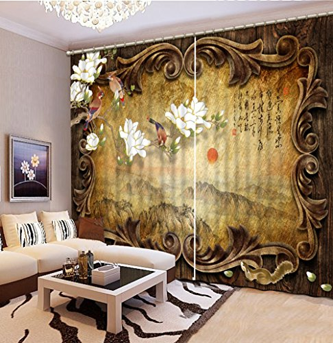 Sproud 3D Printing Curtains Lifelike Room Decorations Blackout Cortians Beautiful Full Light Shading Bedroom Livng Room Curtain 240Dropx200Wide(Cm) 2 pieces by Sproud