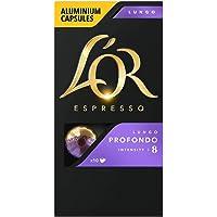 L'Or Espresso Coffee Lungo Profondo - Intensity 8 - 100 Aluminium Capsules Compatible with Nespresso®* Machines (10x10 Pods Pack)