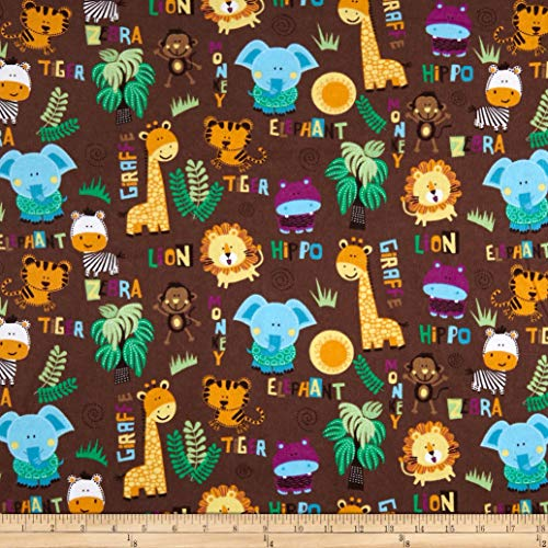 Mook Fabrics Safari Flannel Tossed Fabric, Brown, Fabric By The Yard