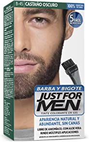 Just For Men Tinte Colorante en Gel para Barba y Bigote, Cubre las Canas, Color Castaño Oscuro (B-45), 28.4 g