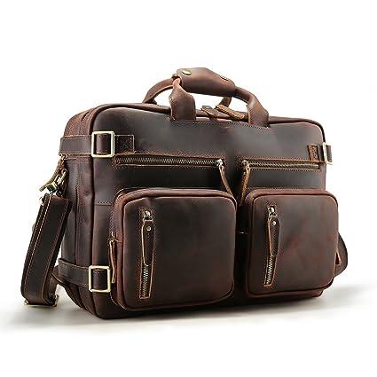 b1a792b982 Amazon.com  Tiding Men 15.6 Inch Genuine Full Grain Leather Laptop Backpack  Expandable Convertible Briefcase Messenger Bag Crossbody Bag  Computers    ...