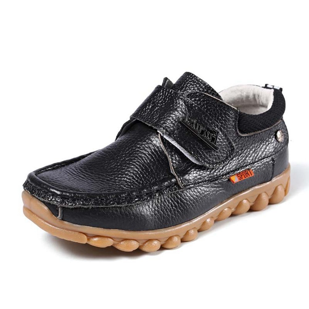 F-OXMY Kids Comfy Soft Slip-On Oxfords Dress Shoes Boys Non-Slip Rubber Outsole Casual Shoes Black