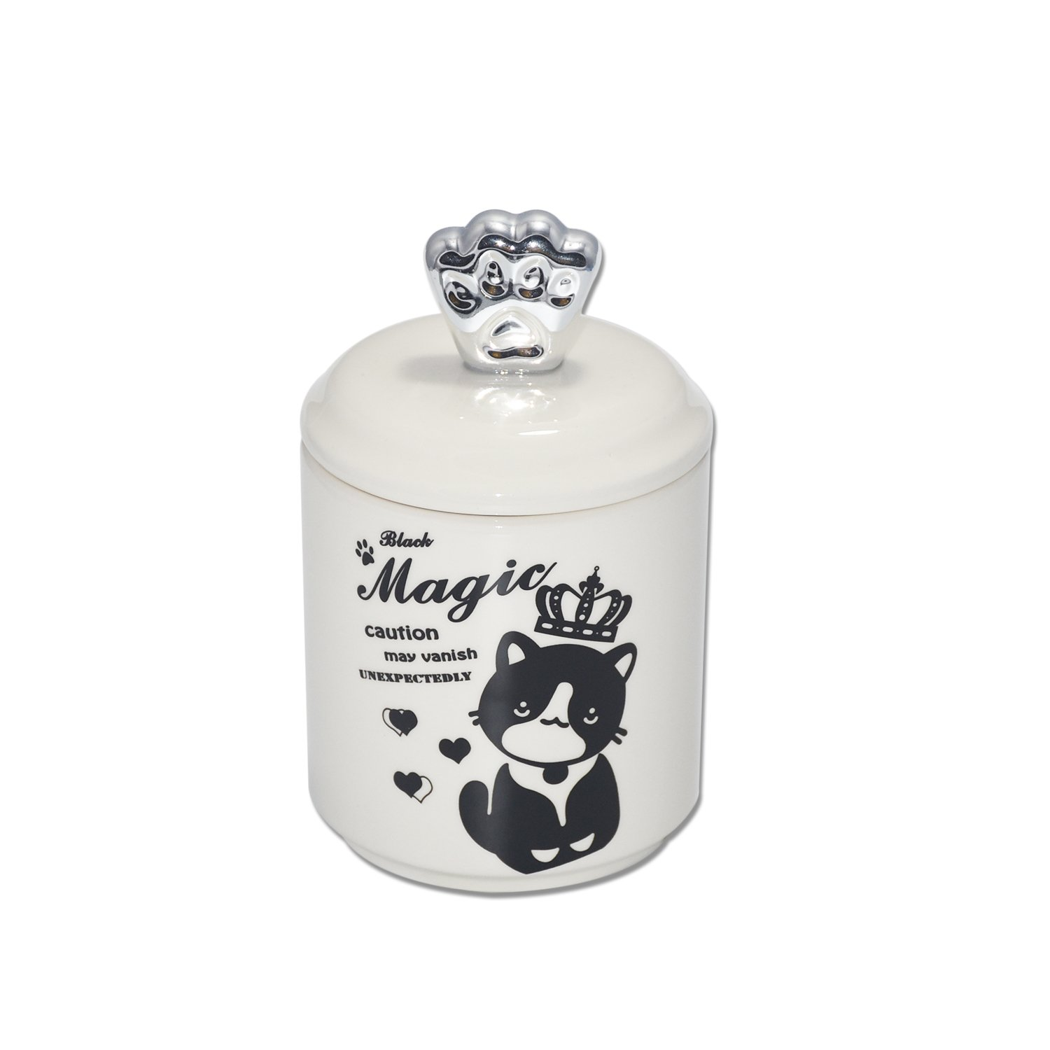 wdfpets Ceramic Pet Cat Treat Jar with Silver Paw Cover(NO AIR Tight), Cat Food Jar with Magic Kitten Decal,17.08 oz Pet Storage Jars,4 x 4 x 6.3 inches(White)