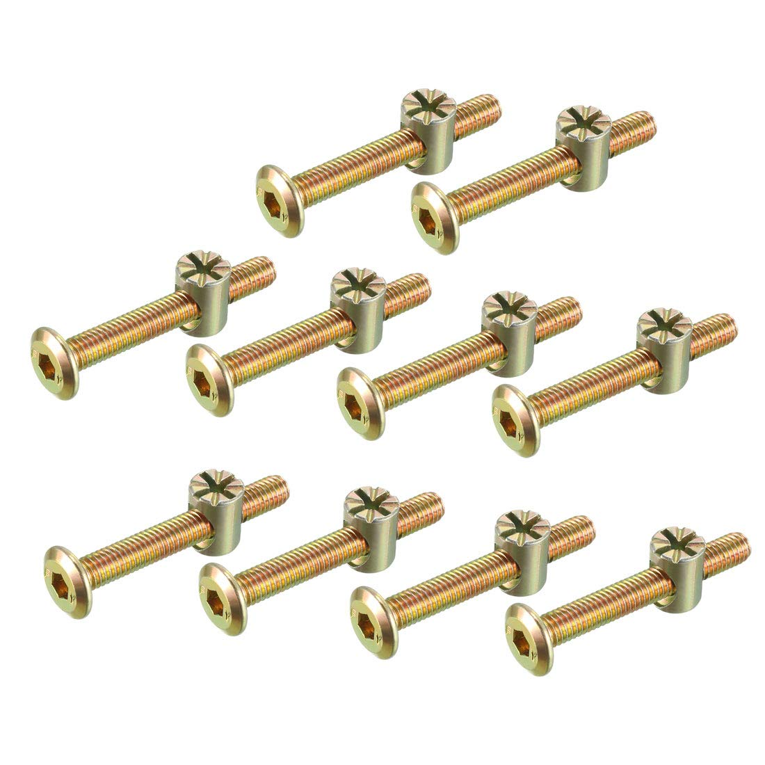 sourcing map M6x45mm Furniture Bolt Nut Set Hex Socket Screw with Barrel Nuts Phillips-Slotted Zinc Plated 10 Sets