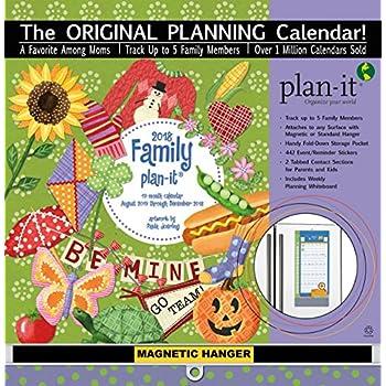 "Wells Street by LANG - 2018 Plan-It Wall Calendar - ""Family Plan-it"" Artwork by Paula Joerling - 17 Month (Aug. 2017 - Dec. 2018) - Pocket, Tab, Whiteboard - Open Size 12"" x 26"""