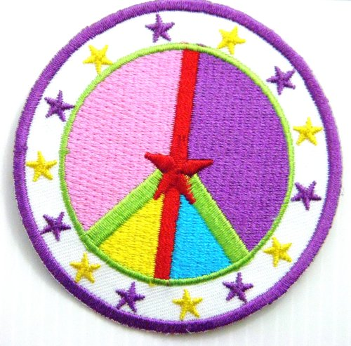 Rubber Peacekeeper (Peace Star Anti No War Sign US Army Military Dove Flag Logo Hippie Retro Biker Tatoo Jacket T-shirt Vest Patch Sew Iron on Embroidered Badge Symbol Custom)