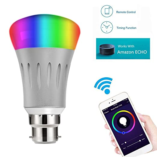 Bombilla inteligente LED Aijing, de intensidad regulable, cambia de color, controlada por Smartphone