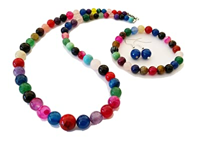 Jelly Bean-inspired Multi-colour 6-14mm Round Beads Gemstone Necklace mxMxUcl