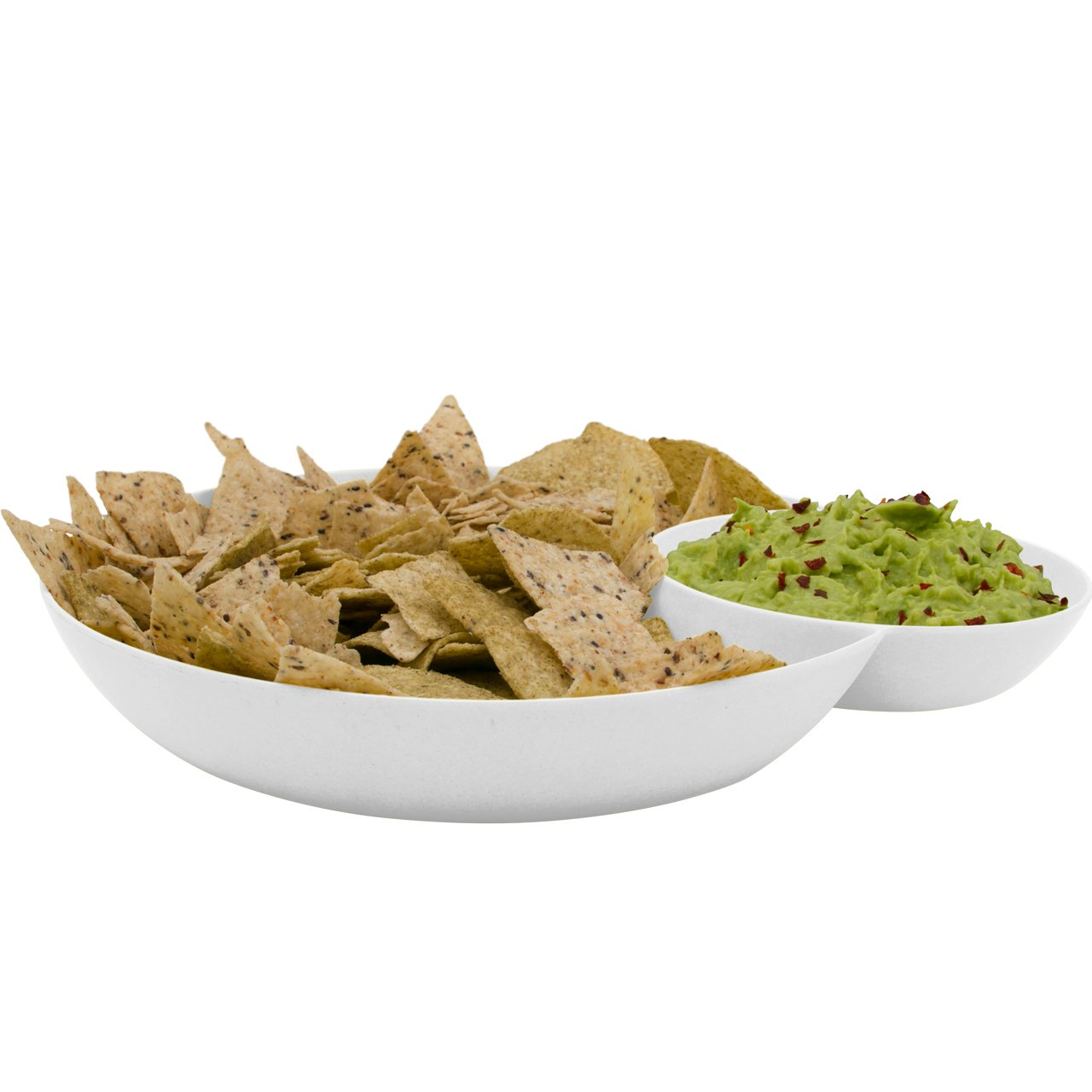 2 in 1 Snack Bowl in White Bamboo Fibre Chips and salsa serving bamboo Avoseedo Bowl for Chips and Dip