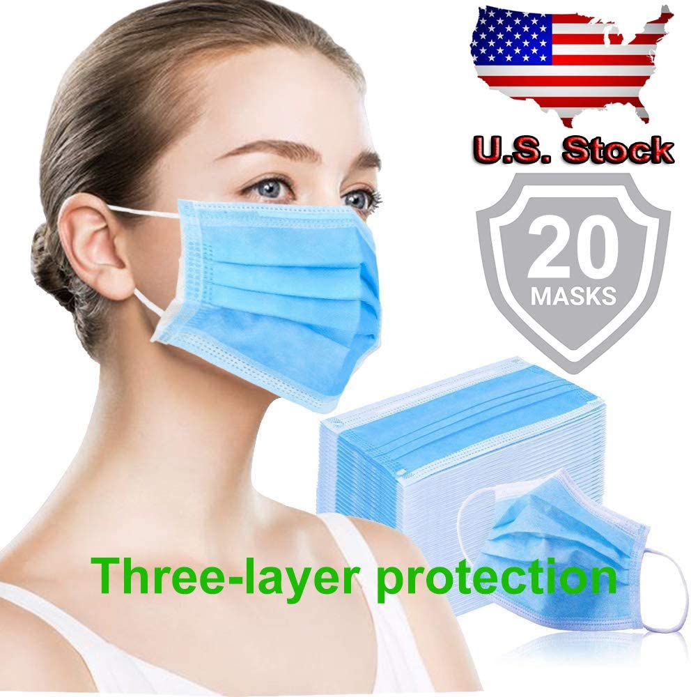 Anti Dust Mouth ᴍᴀsᴋ 20Pcs,Dispos/àble Face ᴍᴀsᴋ Mouth ᴍᴀsᴋ Particulate ᴍᴀsᴋ for Cycling Camping Travel for Adults Fashion ᴍᴀsᴋ Blue Unisex Face ᴍᴀsᴋ
