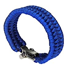 SODIAL(R) Adjustable Buckle Paracord Survival Parachute Cord Bracelet Buckle Whistle New BLUE