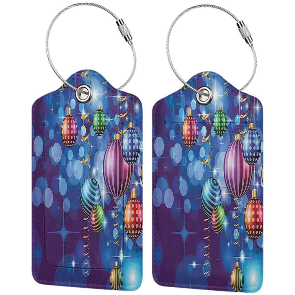 Flexible luggage tag Christmas Happy New Year Party Celebrations with Swirling Ornaments and Balls Festive Print Fashion match Blue Gold W2.7 x L4.6