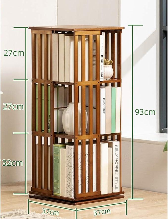 EUGAD 0009SHG Biblioth/èque rotative en MDF,/étag/ère de Sol /étag/ère de Bureau de Rangement 4 Niveaux 39x39x128cm