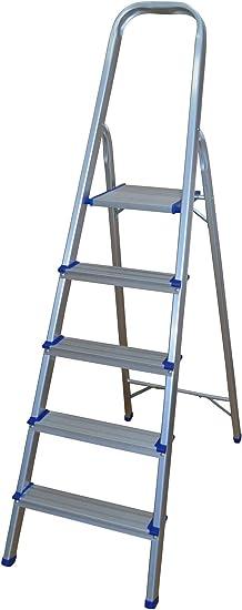 Escalera de aluminio con 5 peldaños.: Amazon.es: Bricolaje y herramientas