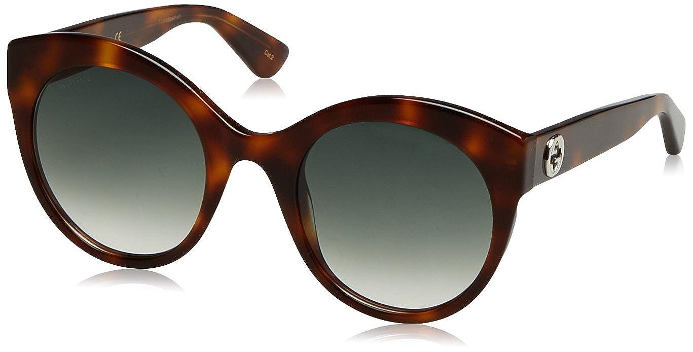 011714edbe Amazon.com  Gucci Women GG0028S 52 Tortoise Green Sunglasses 52mm  Gucci   Clothing