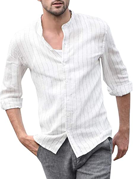 5d94444b94c85 ShallGood Hombre Camisa Básica De Manga Larga Casual Elástica Camisa Lino  Formal Slim Fit Shirt Cuello Mao Camisa para Hombre  Amazon.es  Ropa y  accesorios