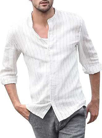 ShallGood Hombre Camisa Básica De Manga Larga Casual Elástica Camisa Lino Formal Slim Fit Shirt Cuello Mao Camisa para Hombre