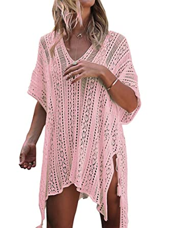 0219bad81b5 Adreamly Women's Bathing Suit Bikini Swimsuit Swimwear Beach Cover up  Crochet Dress Free Size Light Pink