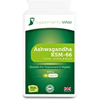 Ashwagandha KSM-66   90 x 500mg Capsules   Highest Concentration Ashwanghanda Root Extract   Supplement for Adrenal Support   Improve Mood and Anxiety   Reduce Blood Sugar   Increase Muscle Mass