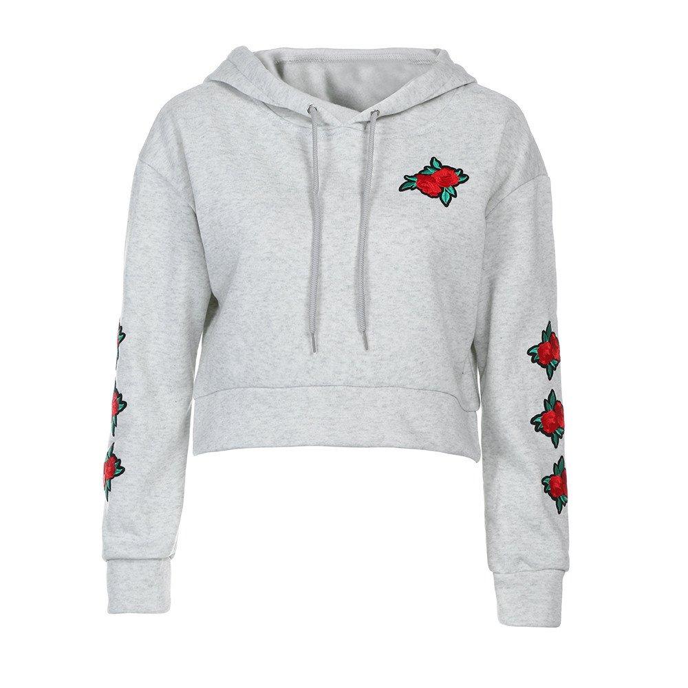 Women's Hoodies Sweatshirt,Thenlian Hooded Sweatshirt Printed Hoodie Long Sleeve Pullover Drawstring Jumper Tops Blouse Crop sweater(XXL, Gray) by Thenlian Hoodies Sweatshirt 5