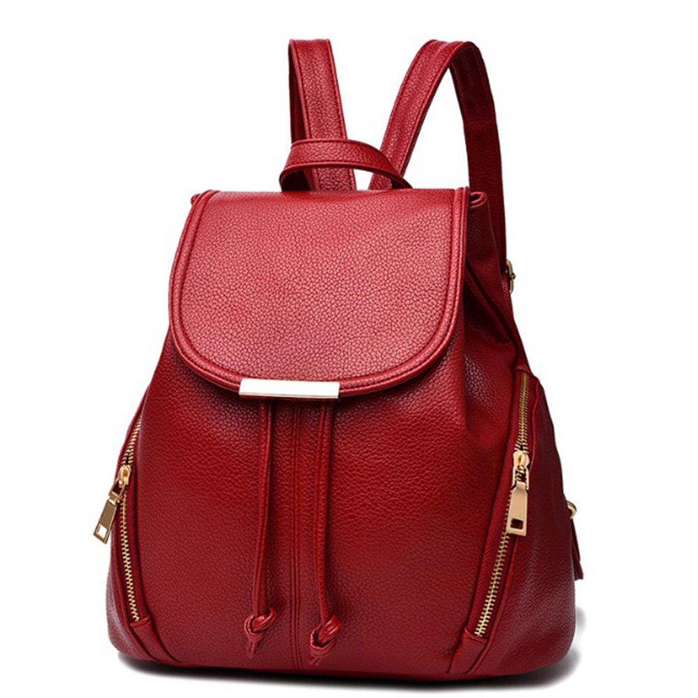 aiseyi Casual Fashion School Leather Backpack Shoulder Bag Mini Backpack for Women Girls Purse (Burgundy)