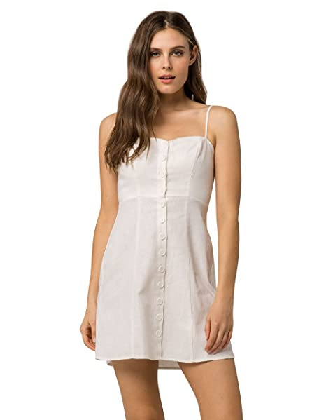 e42cfcd254 Socialite Linen Button Front White Dress
