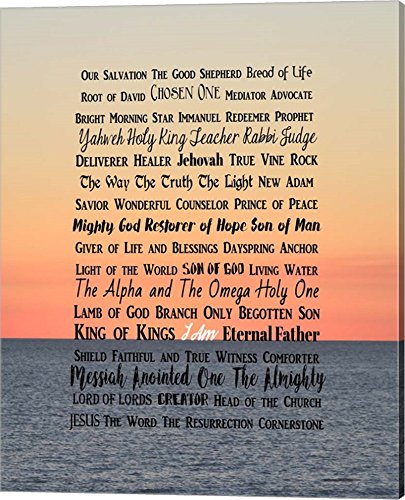 Names of Jesus Ocean Sunset by Inspire Me Canvas Art Wall Picture, Gallery Wrap, 16 x 20 inches ()
