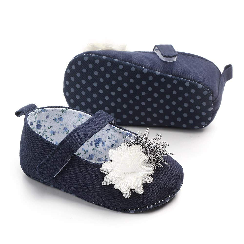 NUWFOR Newborn Baby Cute Girls Canvas Flower Single First Walker Soft Sole Shoes(Dark Blue,0-3Months) by NUWFOR (Image #4)