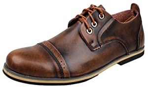 PhiFA Men's Fashion Distressed Leather Cap Toe Oxfords Shoes Lace-ups US Size 10.5 Brown