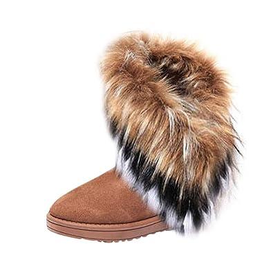 d06bba72ea2df Hee Grand Femme Bottes Neige Imitation Fourrure de Renard  Amazon.fr   Chaussures et Sacs