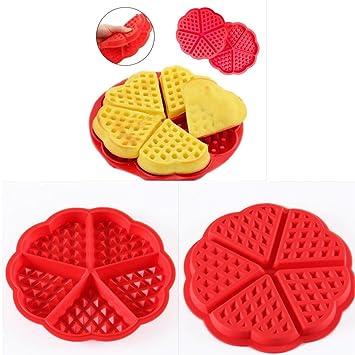 Gofrera orliverhl rojo en forma de corazón de silicona molde para tartas magdalenas galletas postre cocina molde para hornear herramientas: Amazon.es: ...
