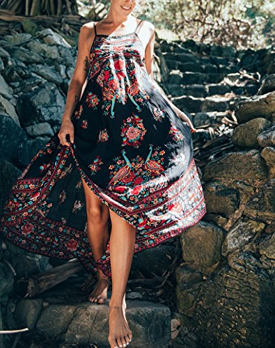 Largos Vestido Beach Mujer Mangas Vestidos Azul Estilo Flores oscuro Playa Sin Vintage Sin Espalda Vestidos Estampados Fashion Vestidos Bohemio Verano Chaleco Elegante Casual OSTqgwgU