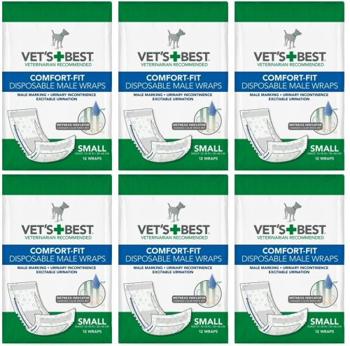 Veterinarian's Best Comfort-fit 12 Count Disposable Male Wrap, Small by Vet's Best (6 Pack) by Vet's Best