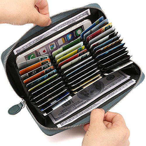 Card Holder Wallets, JOSEKO Women Men RFID Antimagnetic 36 Card Slots Dull Polish Genuine Leather 6inch Phone Bag Long Wallet Blue 7.87''x1.38''x4.33''(L x W x H)