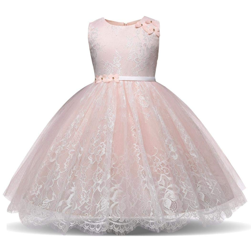 Suma-ma (24M-6T) Girl's Lace flowerdress Princess Skirt Bridesmaid Pageant Tutu Tulle Gown Party Wedding Pink Dress