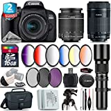 Canon EOS Rebel 800D/T7i Camera + 18-55mm IS STM Lens + Canon 55-250mm IS STM Lens + 500mm f/8.0 Telephoto Lens + 6PC Graduated Color Filter Set + 2yr Extended Warranty - International Version