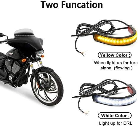 39mm-70mm,36LED 2PCS Flexible Switchback Dual-Color White /& Amber Motorcycle LED Fork Turn Signal Blinkers DRL Daytime Running Light Waterproof Adjustable Stips Bars Kit Universal Fit Motorbike