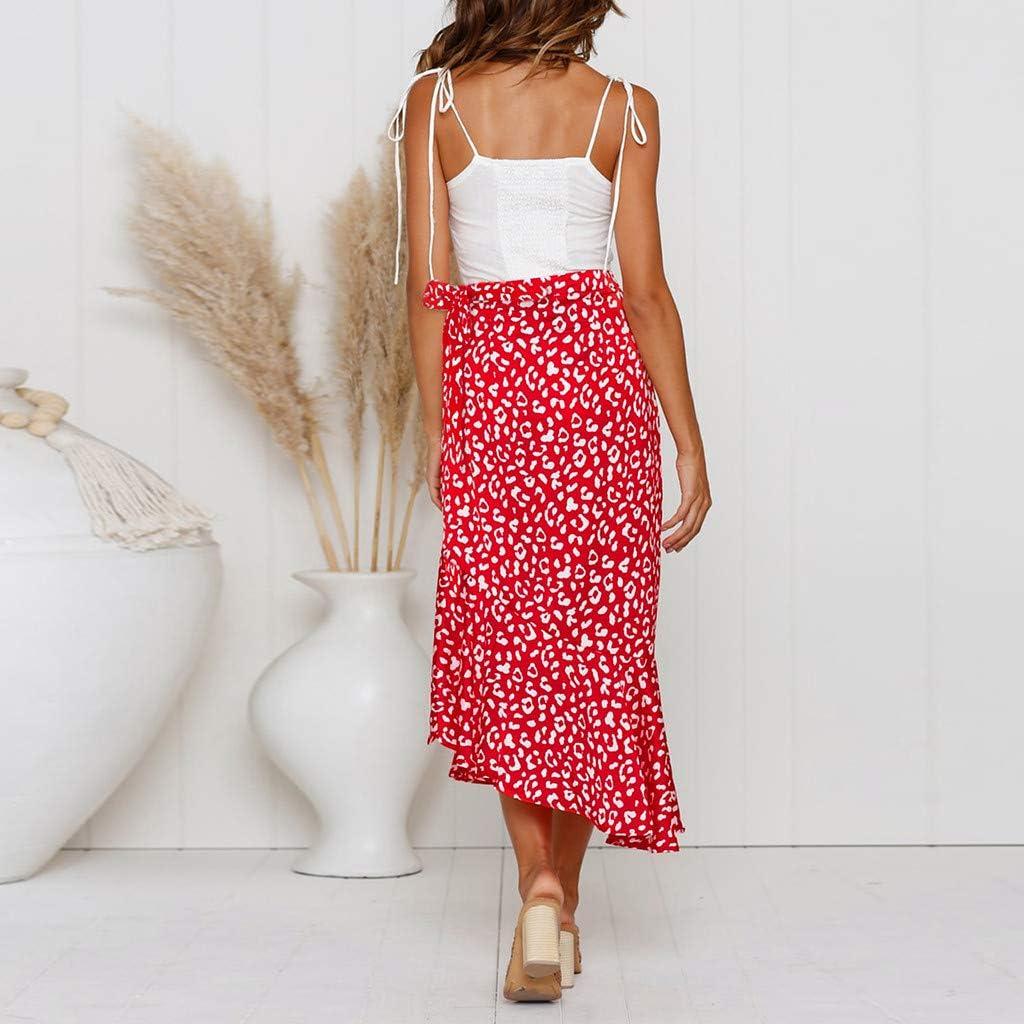 BAOHOKE Boho V Neck Short Sleeve Ruffle Hem Midi Dress for Women,Fashion High Waist Summer Long Wrap Dress