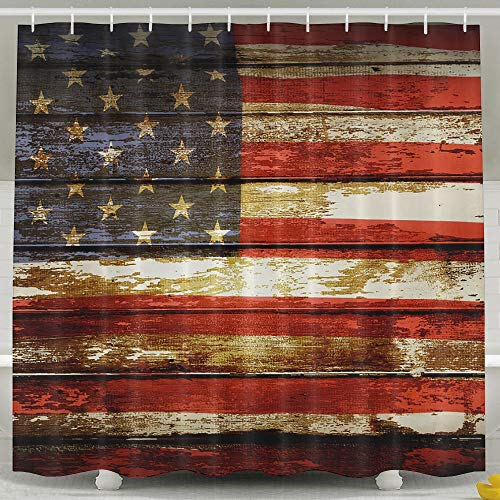 Waterproof Shower Curtain American Flag On Boards Bathroom for sale  Delivered anywhere in USA